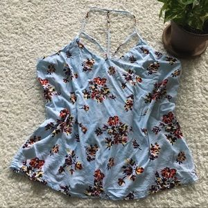 Teens/junior girls floral blue strappy front top